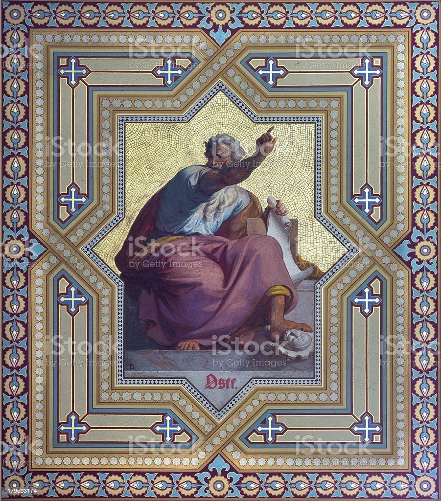 Vienna - Fresco of Hosea prophet stock photo