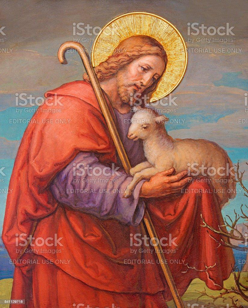Vienna - Fresco of Jesus as good shepherd stock photo