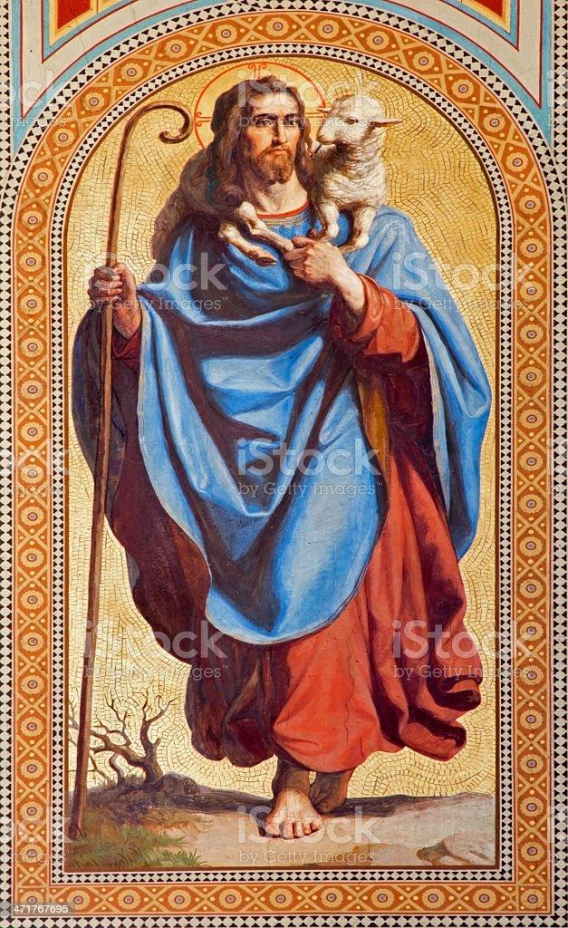 Vienna - Fresco of  Jesus Christ as Good shepherd stock photo