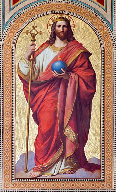 wien-fresko von jesus christus als king-size-bett - hochkönig stock-fotos und bilder