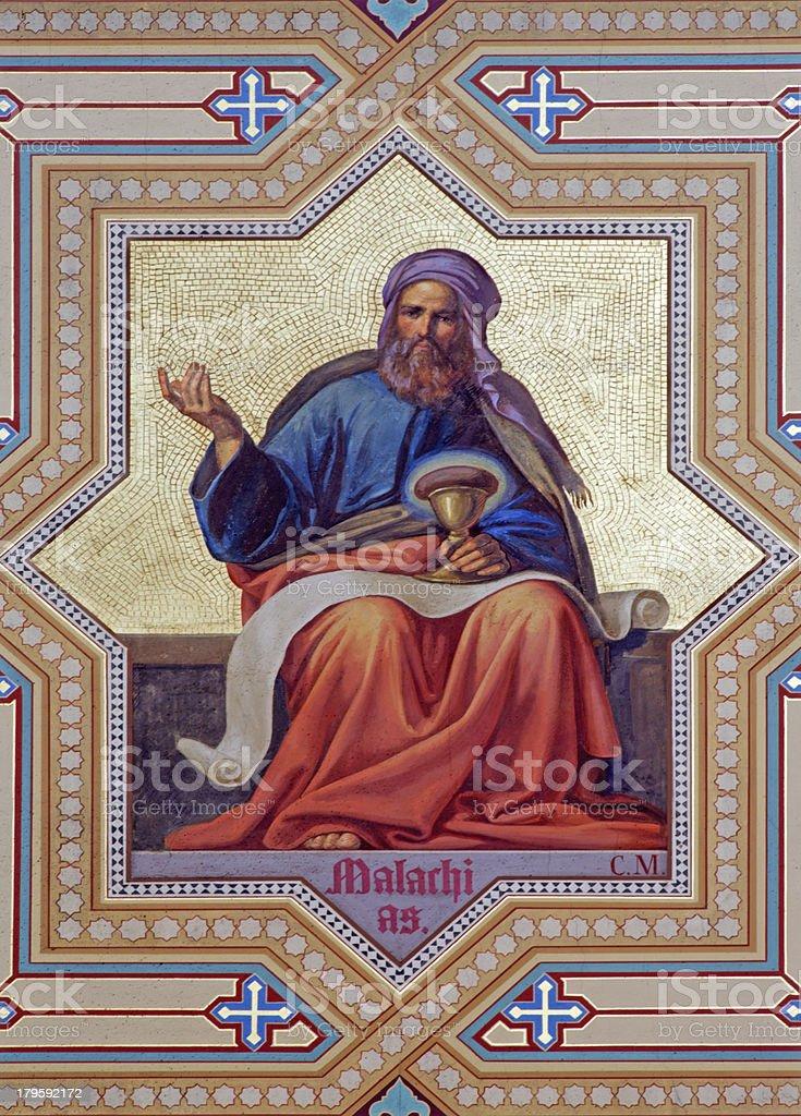 Vienna - Fresco of Malachi prophet stock photo