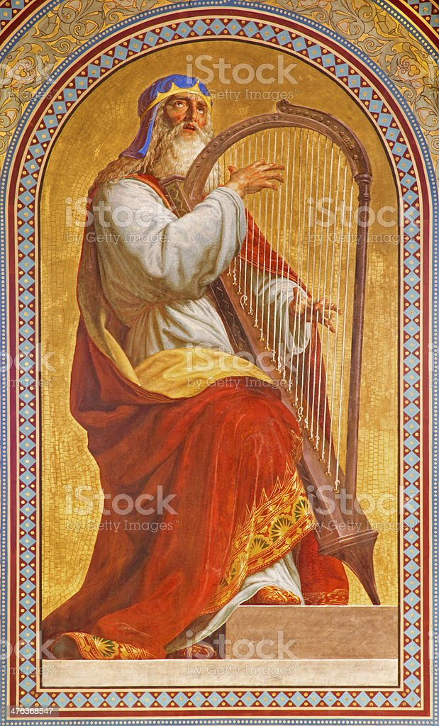 Vienna -  Fresco of Moses in Altlerchenfelder church stock photo