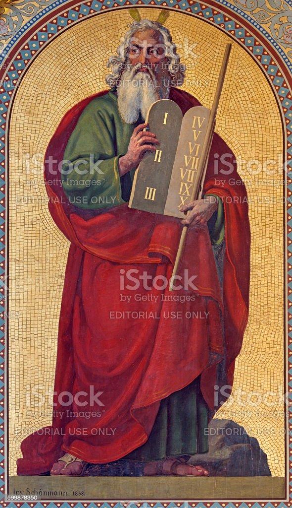 Vienna - Fresco of Moses stock photo