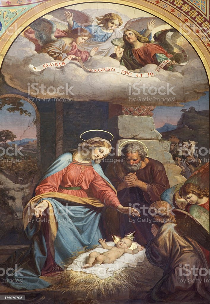 Vienna - Fresco of Nativity scene in Altlerchenfelder church stock photo