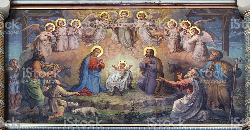 Vienna - Fresco of Nativity scene in Carmelites church stock photo