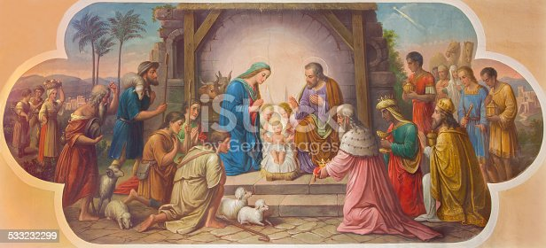 istock Vienna - Fresco of Nativity scene in Erloserkirche church. 533232299