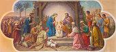 Vienna - Fresco of Nativity scene in Erloserkirche church.
