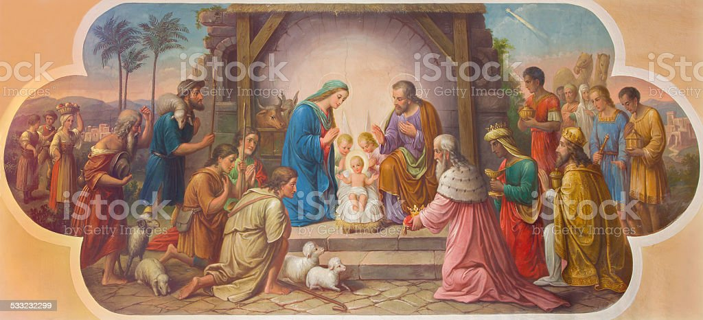 Vienna - Fresco of Nativity scene in Erloserkirche church. stock photo