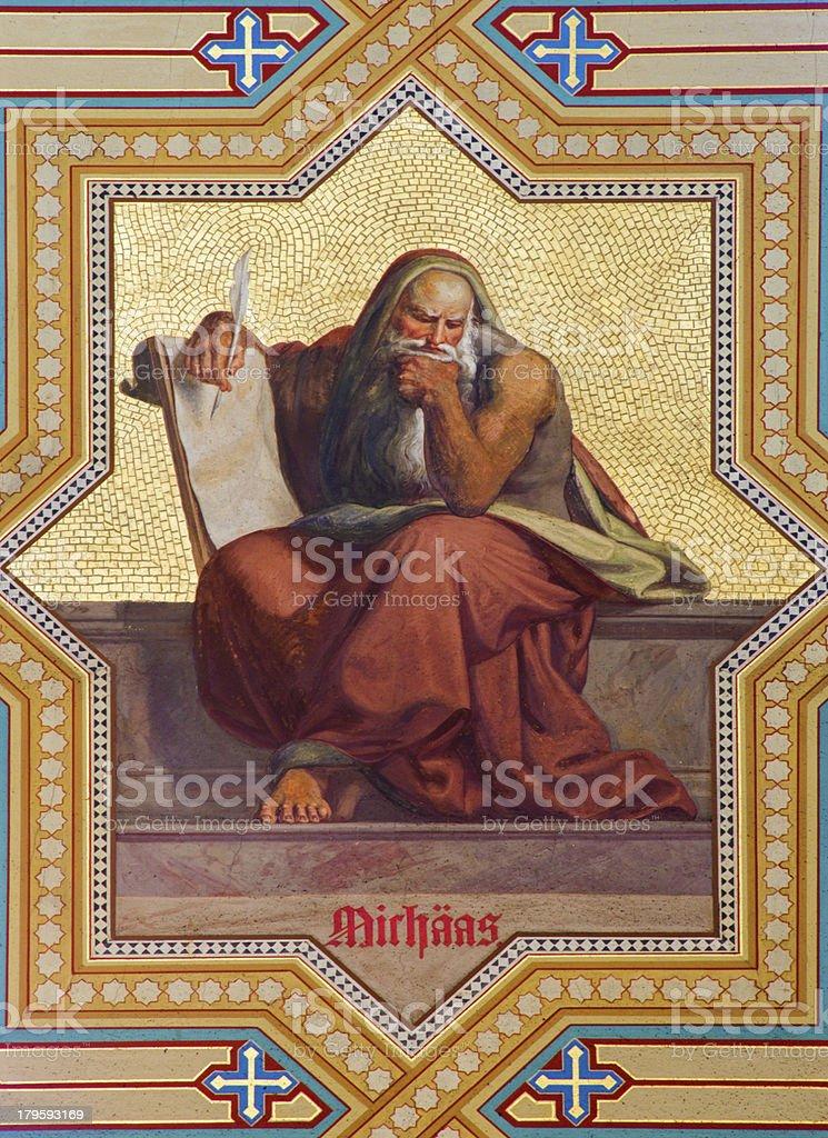 Vienna -  Fresco of prophet Micah stock photo