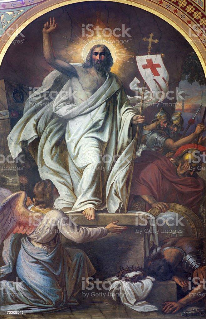 Vienna -  Fresco of Resurrection in Altlerchenfelder church stock photo