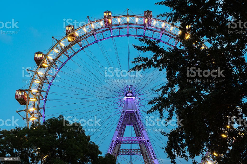Vienna Giant Wheel At Night stock photo