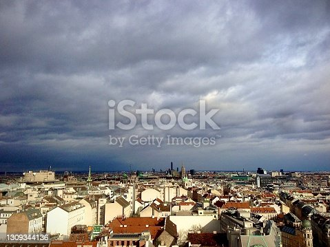 A storm is approaching Vienna, a beautiful view of the city with a dramatic sky.