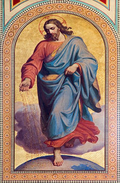 Vienna - Jesus Christ as seedsman in Altlerchenfelder church stock photo