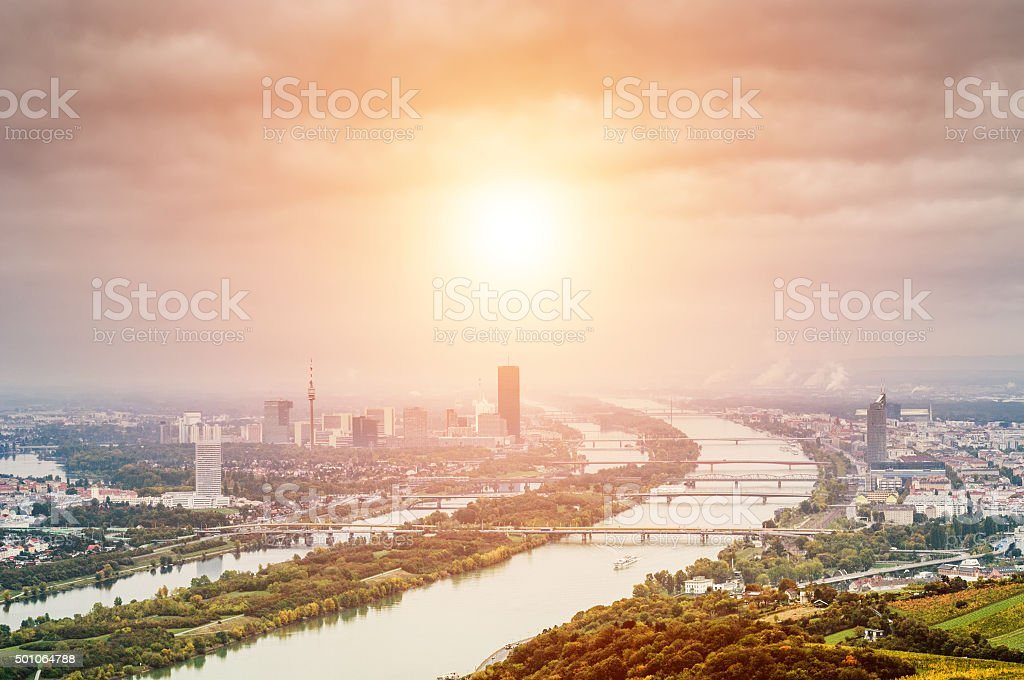 Vienna landscape with Danube river from Kahlenberg mountain stock photo