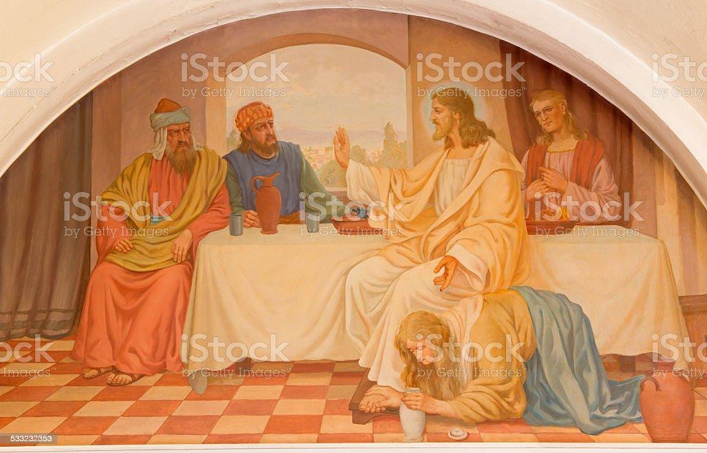 Vienna - Mary Magdalen wash the feet of Jesus scene stock photo