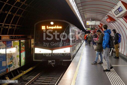 Vienna, Austria - May 29 2019: Subway train entering the station of Südtiroler Platz.