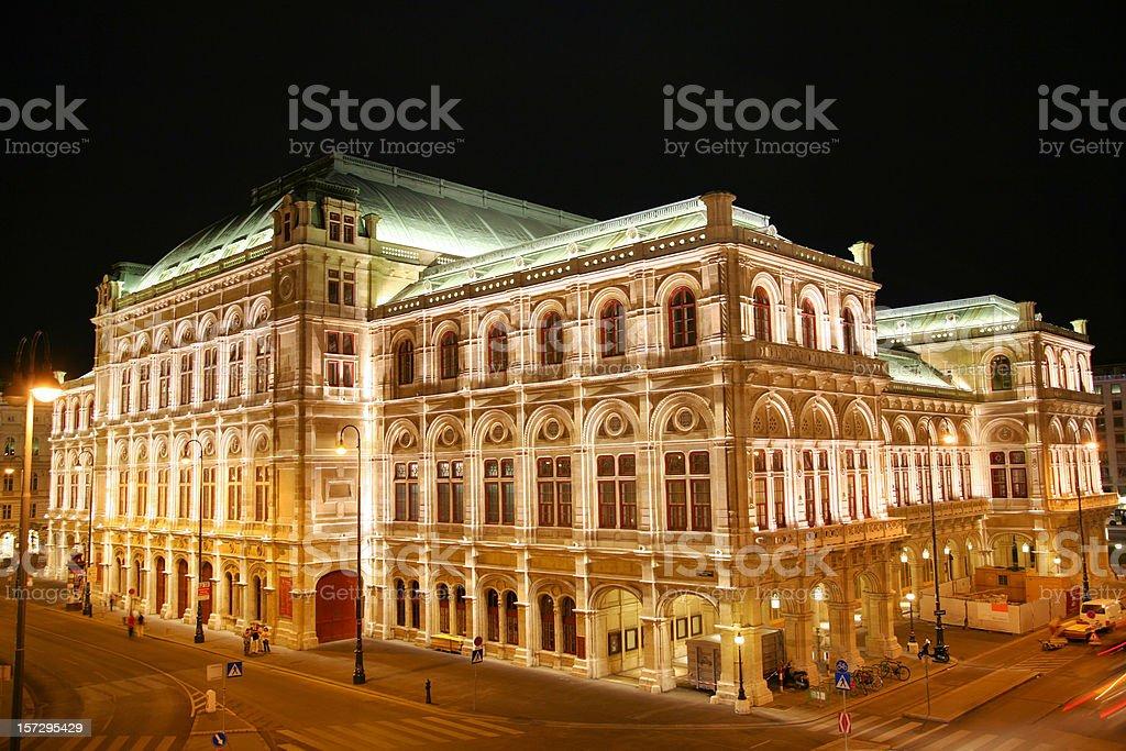 Vienna opera at night royalty-free stock photo