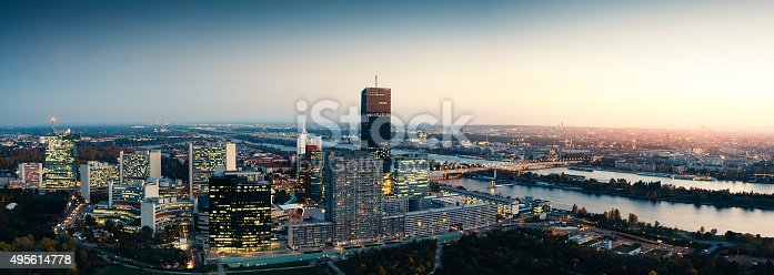 Panoramic view on Vienna and its business district at night (Austria).