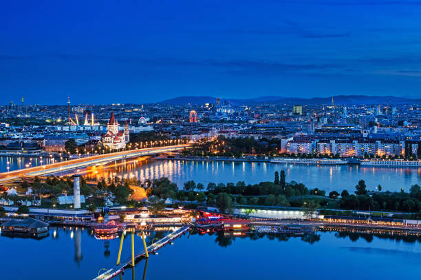 Vienna Panoramic At Night stock photo