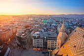 Aerial cityscape image of Vienna capital city of Austria during sunset.