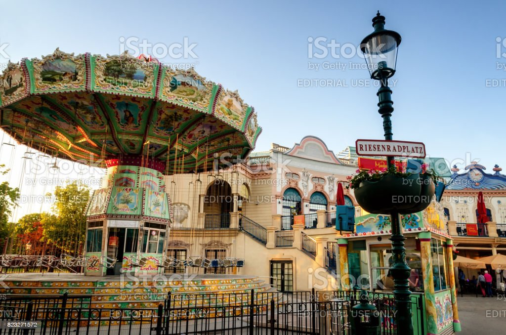Vienna, Prater Riesenradplatz with merry-go-round stock photo