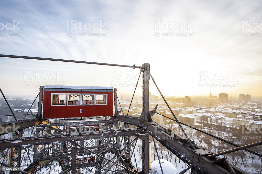 Vienna Riesenrad in winter with snow stock photo