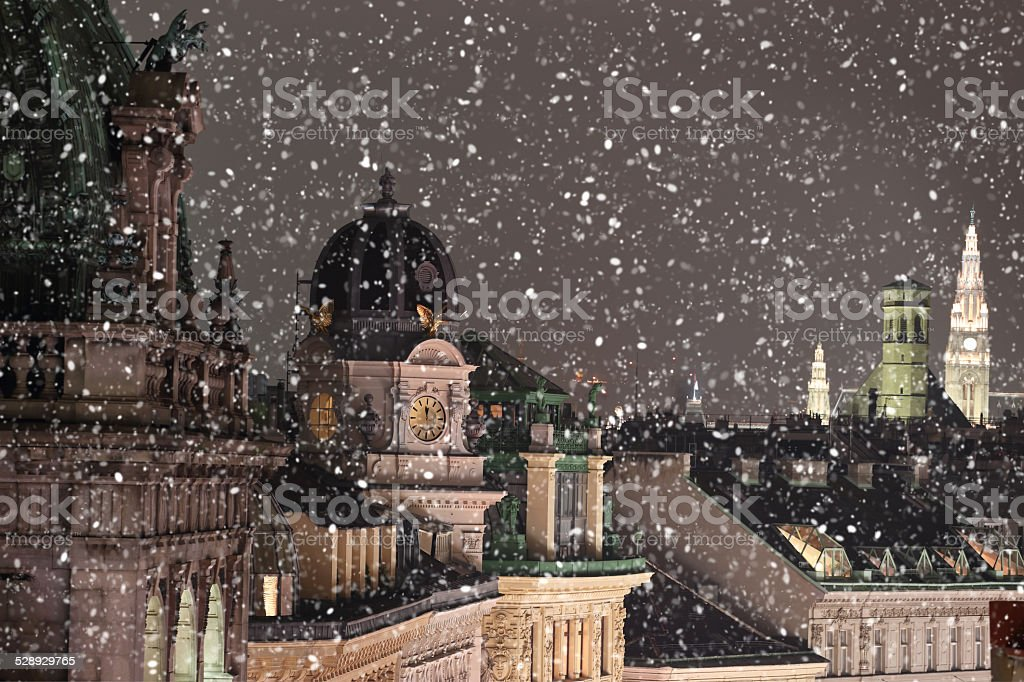 Vienna rooftops cityscape with snow stock photo