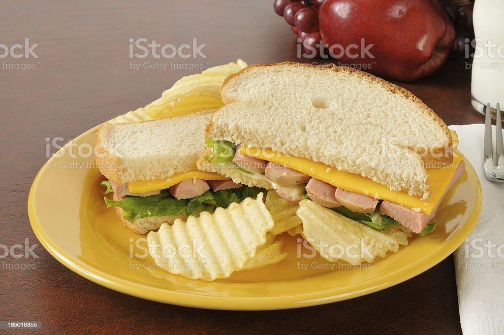 Vienna sausage sandwich stock photo
