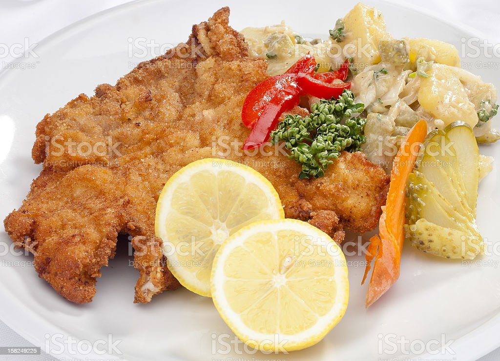 Vienna schnitzel with vegetables royalty-free stock photo