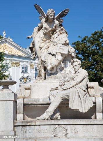 Vienna - scribe Ferdinand Raimund memorial by artist Franz Vogl from year 1898 on the Neustiftgasse