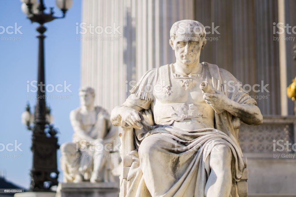 Vienna sights series, detail of austrian parliament, statue stock photo