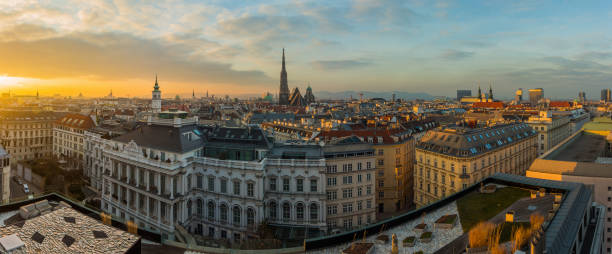 vienna skyline at sunset - vienna stock photos and pictures