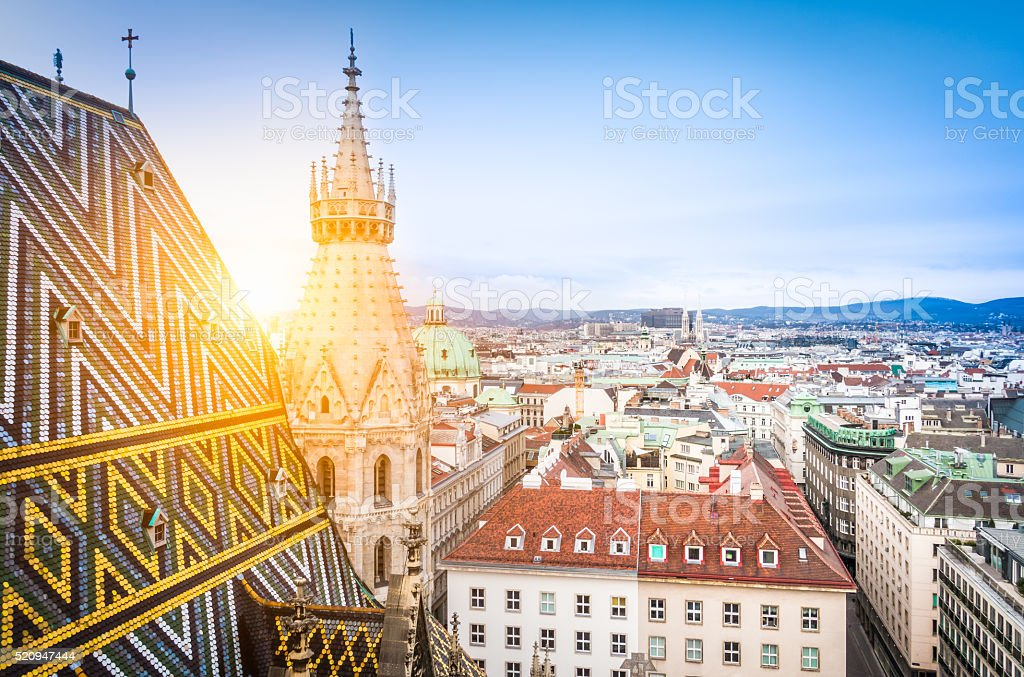 Vienna skyline with St. Stephen's Cathedral roof, Austria stock photo
