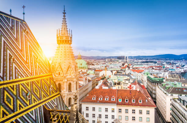 vienna skyline with st. stephen's cathedral roof, austria - vienna stock photos and pictures