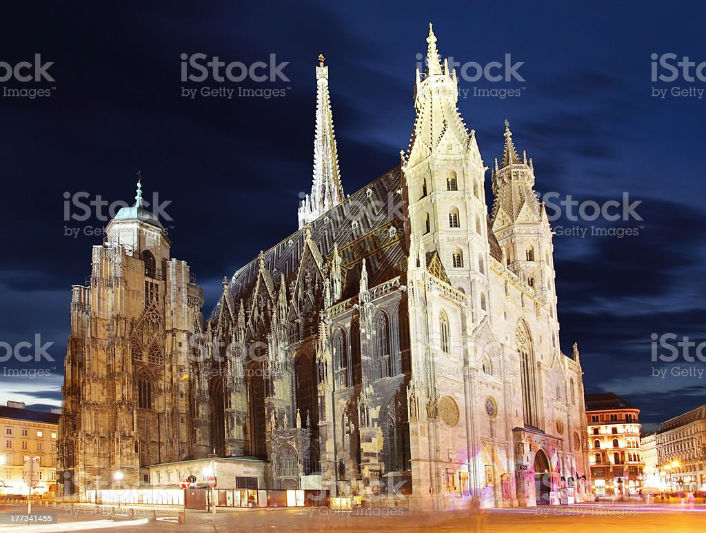 Vienna Stephans cathedral in Austria at night stock photo