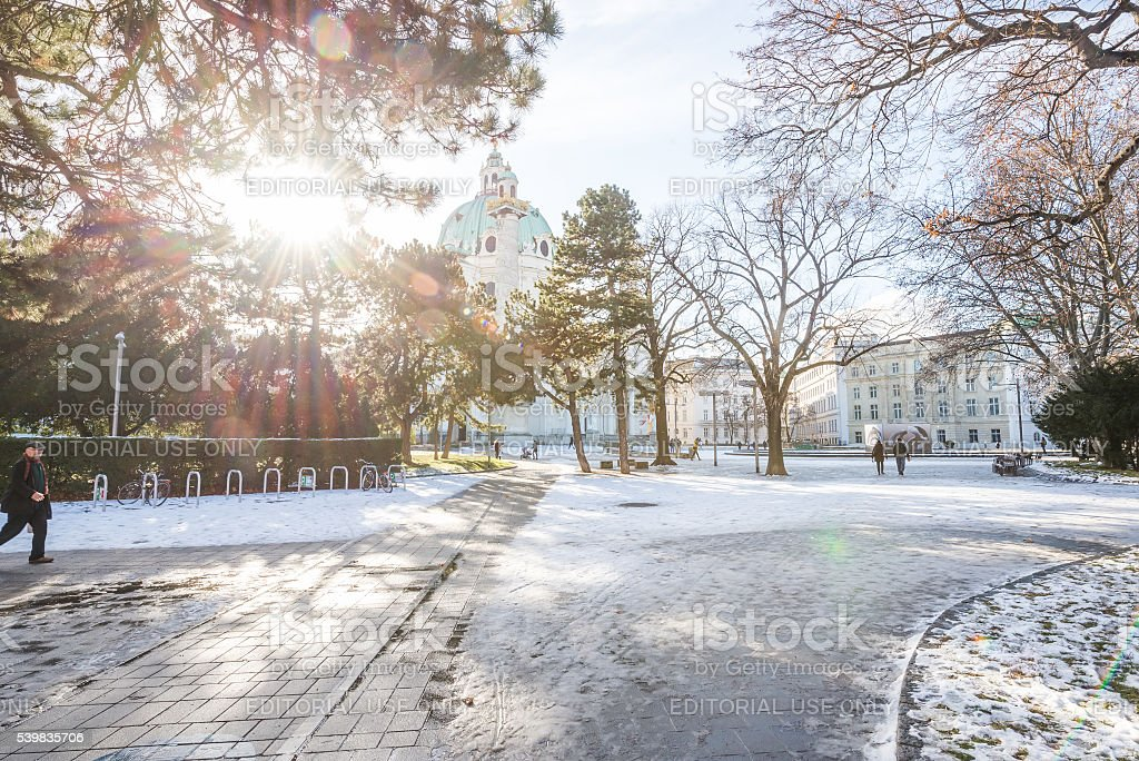Vienna street view on a sunny winter day stock photo