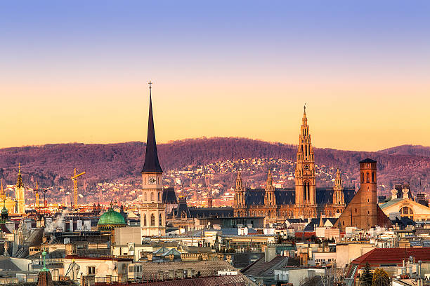vienna sunrise - vienna stock photos and pictures