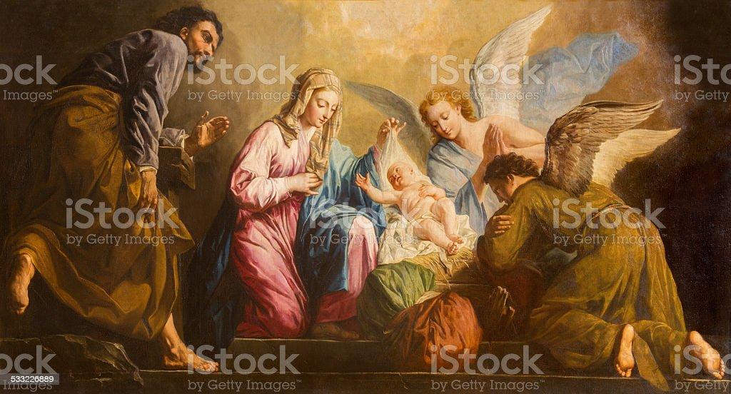 Vienna - The Nativity paint in presbytery of Salesianerkirche church stock photo