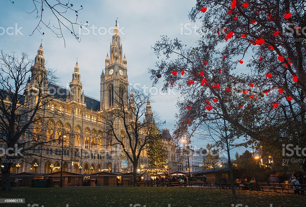 Vienna Town Hall (Rathaus) during Christmas time, Austria - Royalty-free Architecture Stock Photo