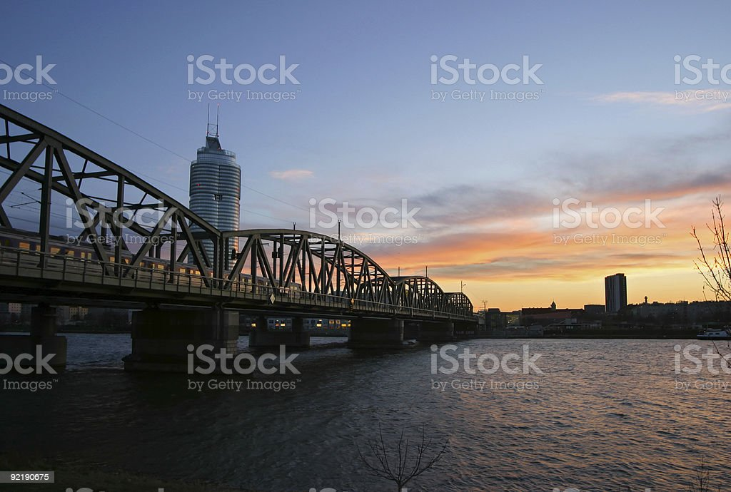 Vienna, train bridge over river danube royalty-free stock photo