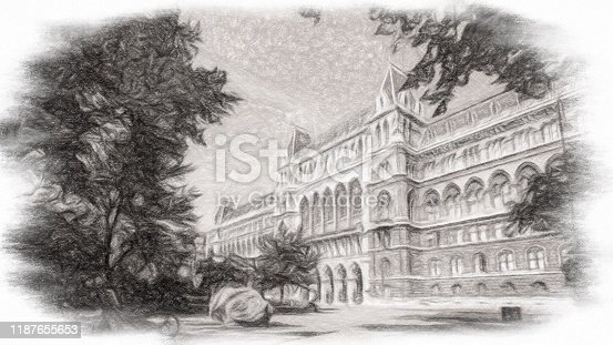 Abstract Building in Vienna the city on pencil painting.