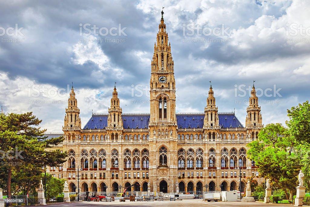 Vienna's Town Hall (Rathaus) at daytime.Vienna. stock photo
