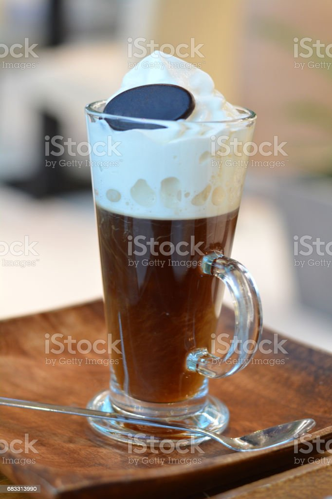 Viennese coffee with whipped cream on glass cup. foto stock royalty-free