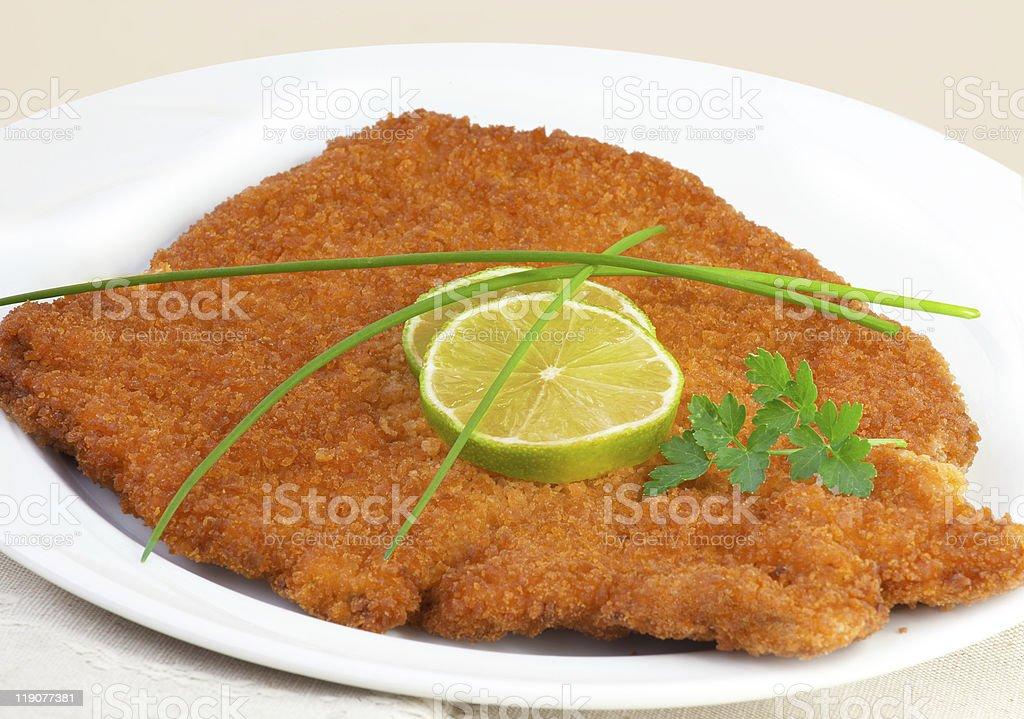 viennese schnitzel (escalope) stock photo