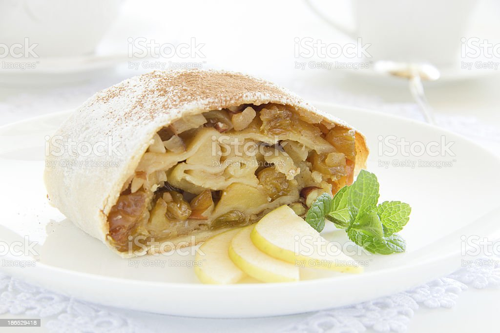 Viennese strudel with vanilla sauce. stock photo