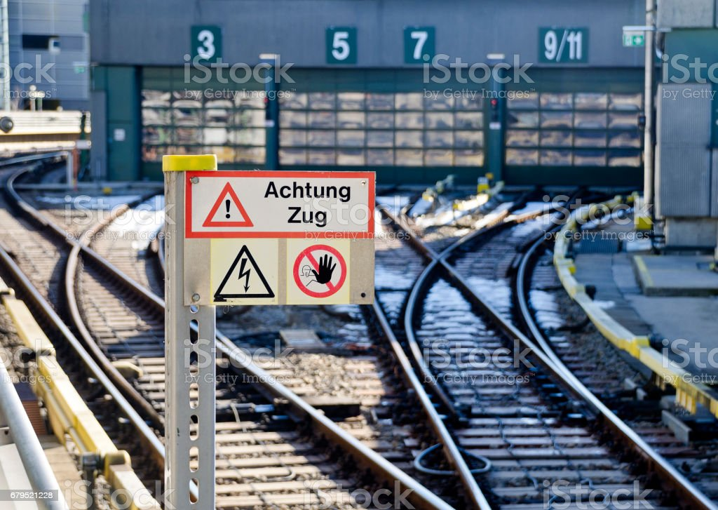 Viennese Underground with danger sign 'Caution train' royalty-free stock photo