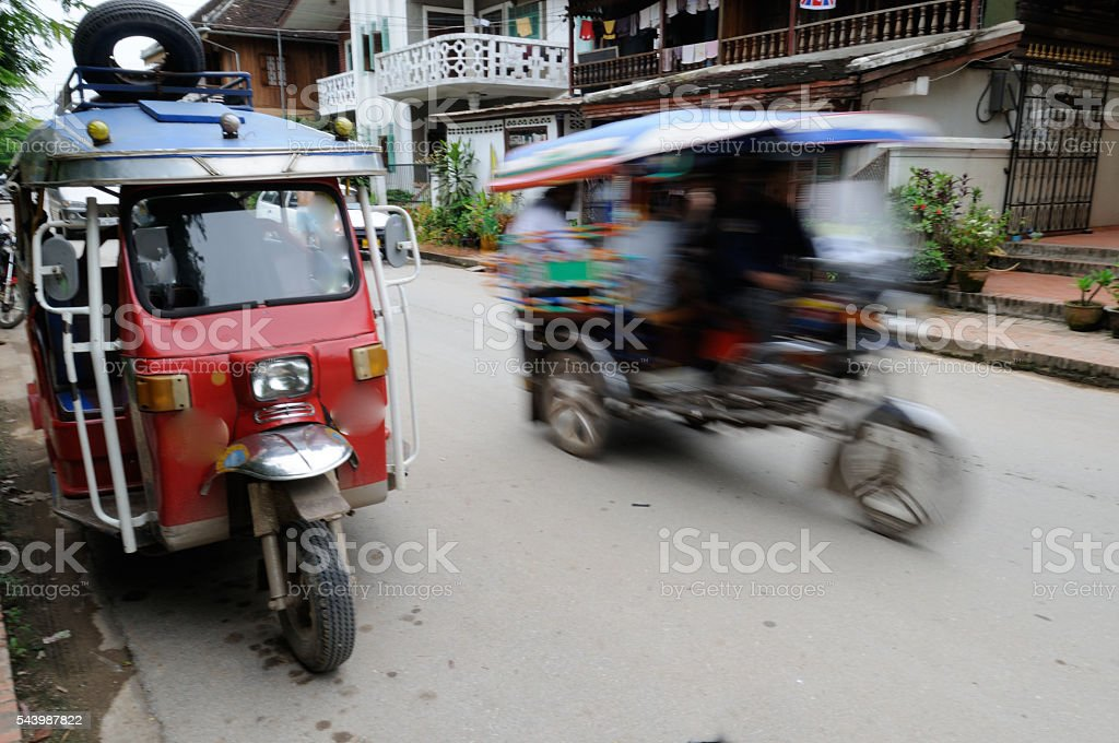 Vientiane Laos Scooter Tuk Tuk two speed economy stock photo