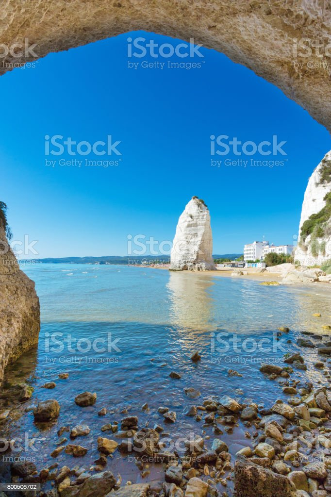 Vieste, Beach of Pizzomunno rock, Apulia, South of Italy stock photo