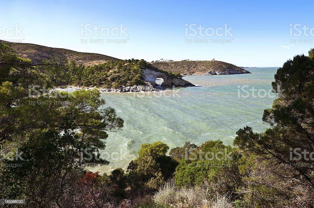 Vieste coast with the 'Architiello' stock photo