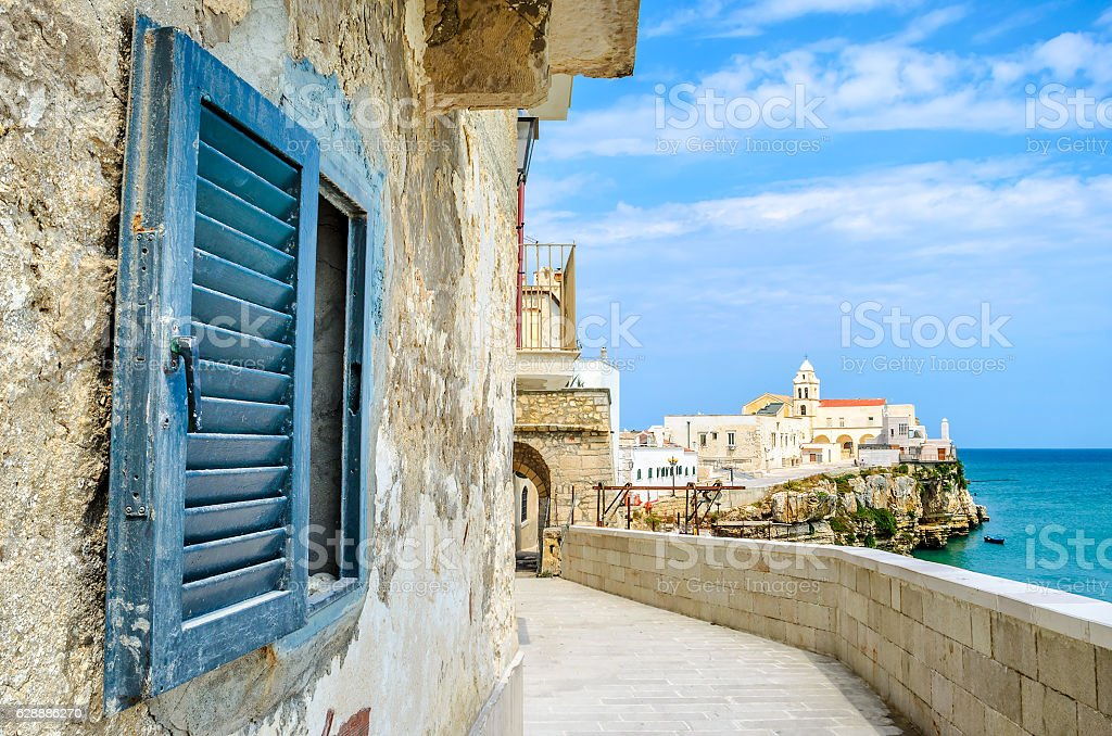 vieste gargano apulia italy window mediterranean sea village stock photo